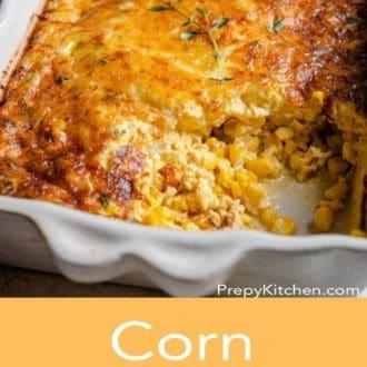 corn casserole in a white casserole dish