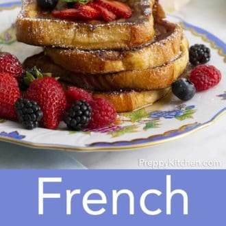 stack of french toast on a floral plate
