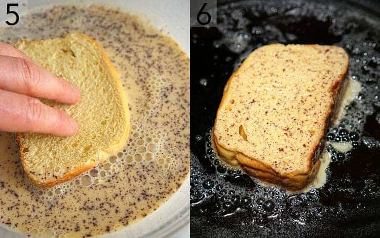 two photos showing bread getting dipped into a custard and then cooked on a skillet