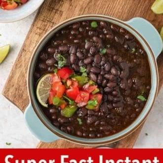 A pinterest graphic of Instant Pot Black Beans