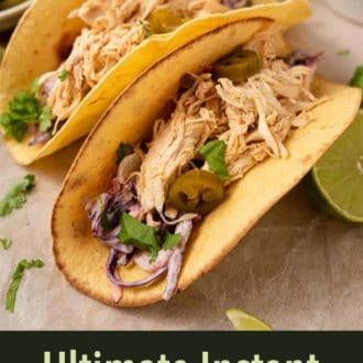 A pinterest graphic of Instant Pot chicken tacos