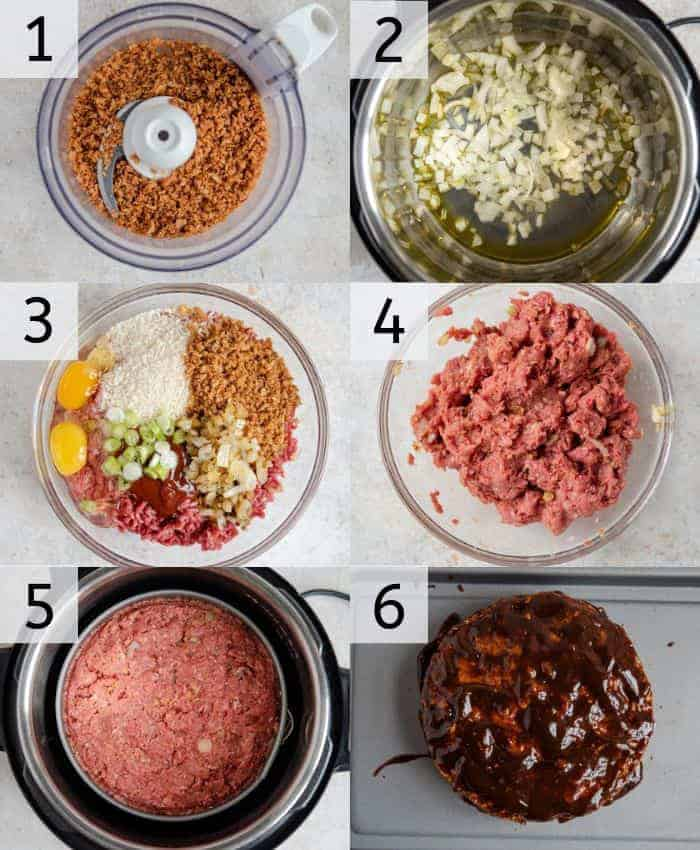 Step by step photos for making instant pot meatloaf