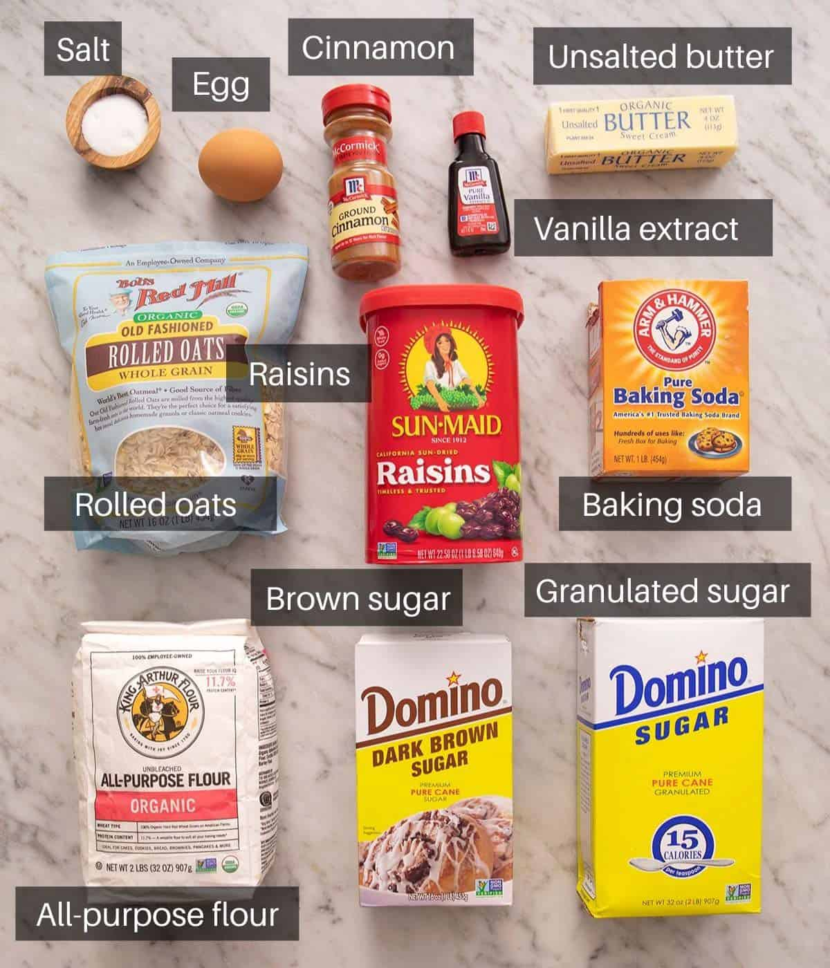 An overhead shot of all the ingredients you need to make oatmeal raisin cookies