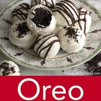 oreo balls stacked on a plate