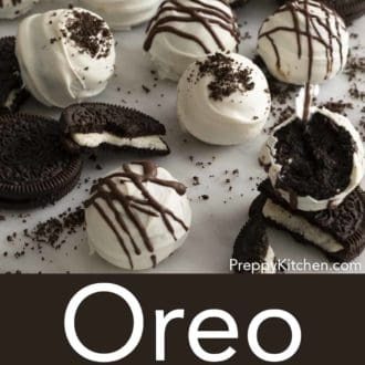 oreo balls scattered with oreos on a white counter