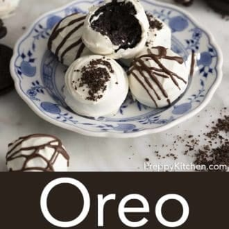 oreo balls on a blue and white plate