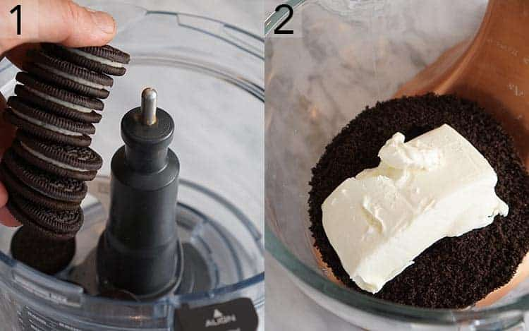 Two photos showing Oreos being crushed and mixed with cream cheese
