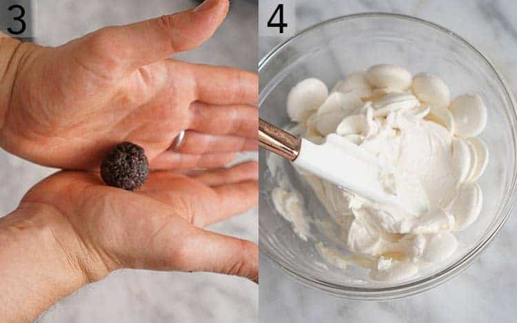 Two photos showing Oreo balls being rolled by hand and candy melts being mixed