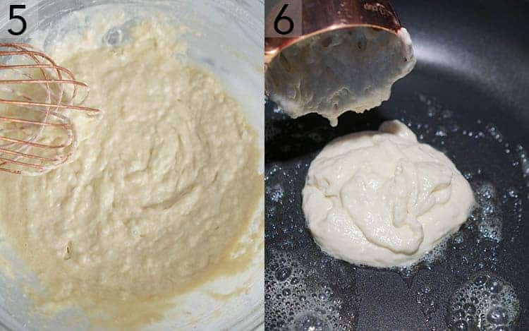 Pancake batter getting mixed then cooked in a skillet