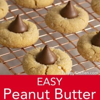 peanut butter blossom cookies on a wire cooling rack