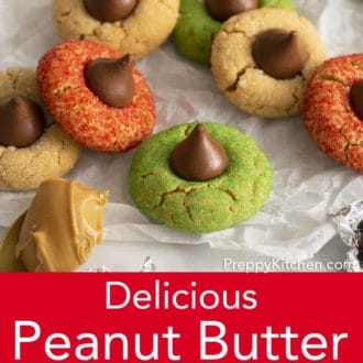 peanut butter blossom cookies on parchment paper