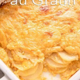 A pinterest graphic of potatoes au gratin
