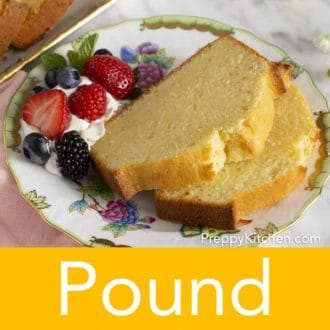 slices of pound cake on a plate