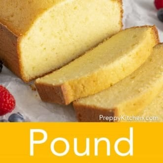 slices of pound cake on parchment paper