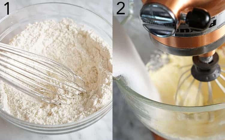 two photos showing the steps to make pound cake batter