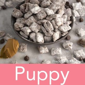 puppy chow stacked in a gray bowl