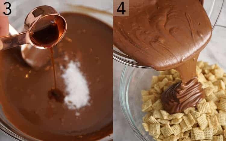 Two photos showing vanilla being poured into melted chocolate and the melted chocolate pouring onto a bowl of Chex