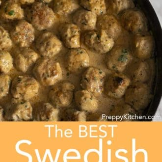 swedish meatballs in a skillet