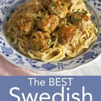swedish meatballs and pasta on a blue and white plate