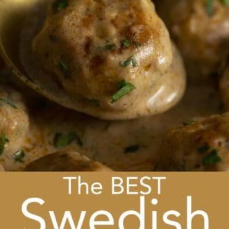 swedish meatball on a gold spoon