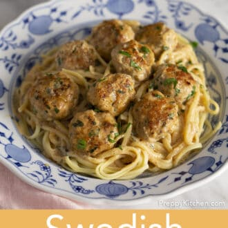 Swedish Meatballs with linguini on a plate.