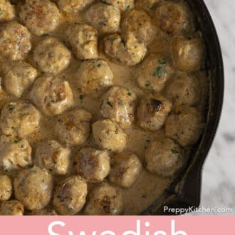 Swedish Meatballs in an iron pan.