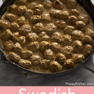 Swedish Meatballs in a pan.
