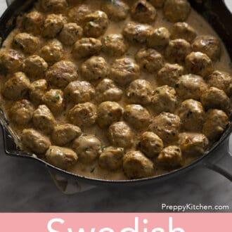Swedish Meatballs in a pan.