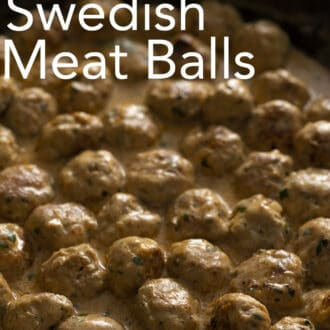 Many Swedish Meatballs in a cast iron pan.