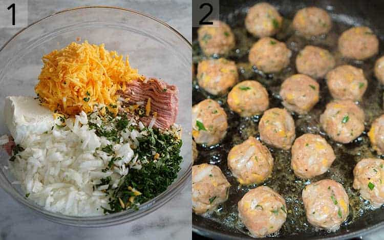 Two photos showing the ingredients for Swedish meatballs being chopped then assembles in a bowl