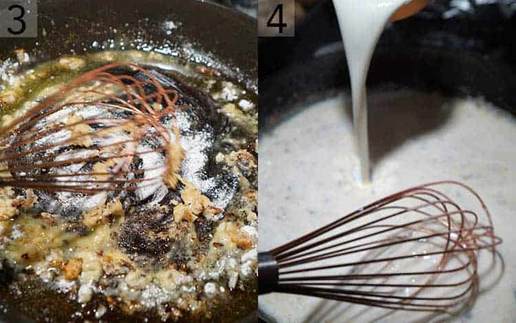 Two photos showing the sauce for Swedish meatballs being made.