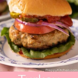 A pinterest graphic of a turkey burger