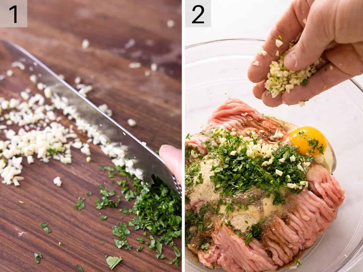 Two photos showing how to mix ingredients together for turkey burgers