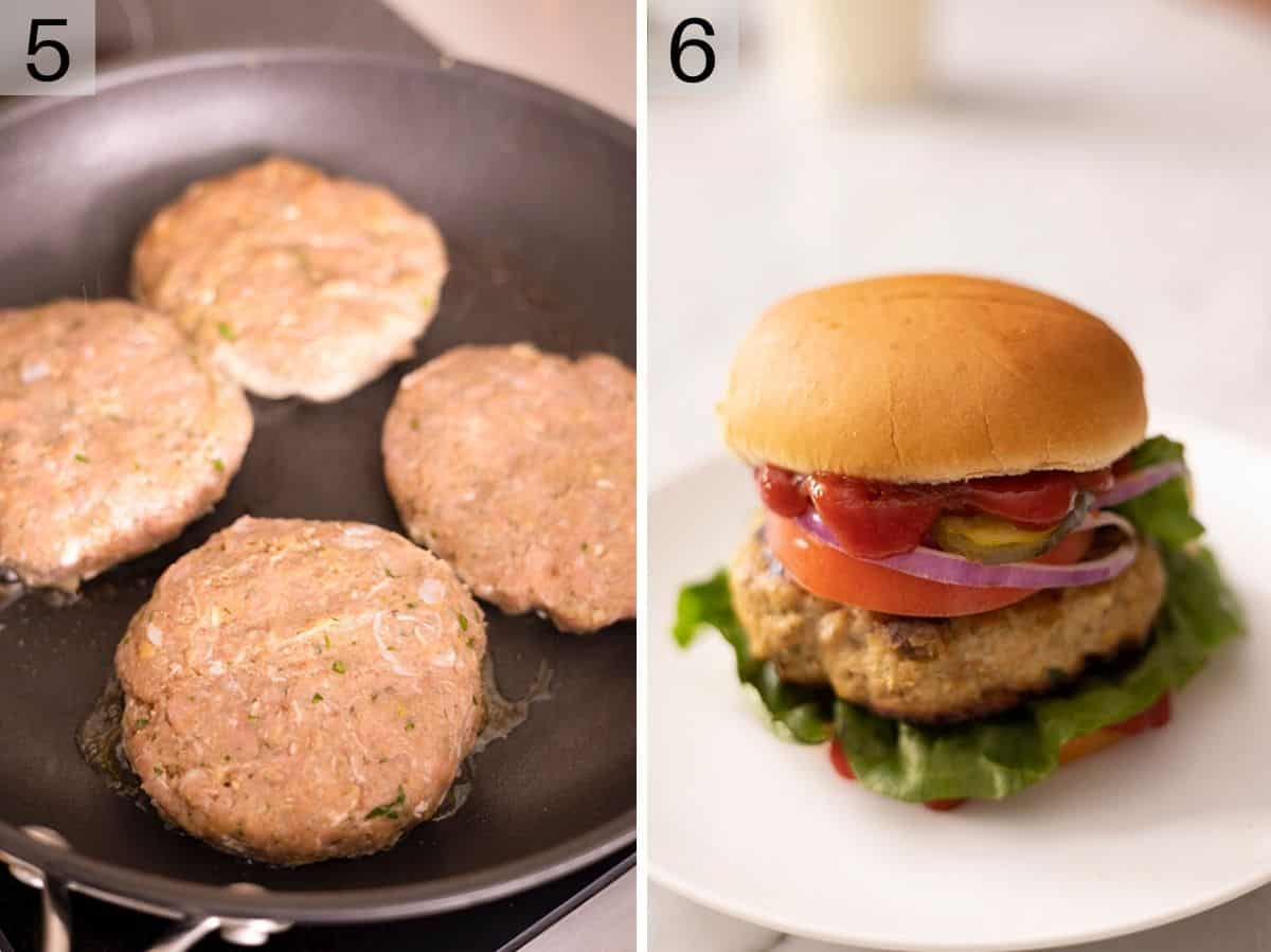 Two photos showing to cook and assemble turkey burgers