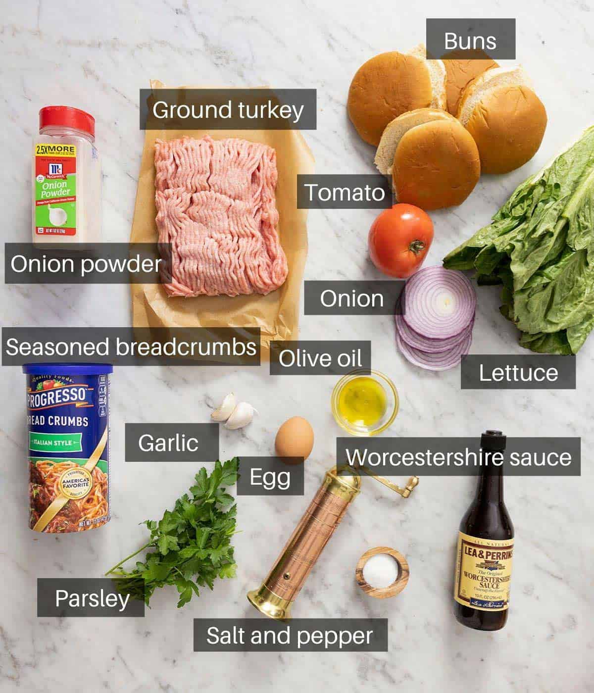 An overhead shot of all the ingredients you need to make turkey burgers