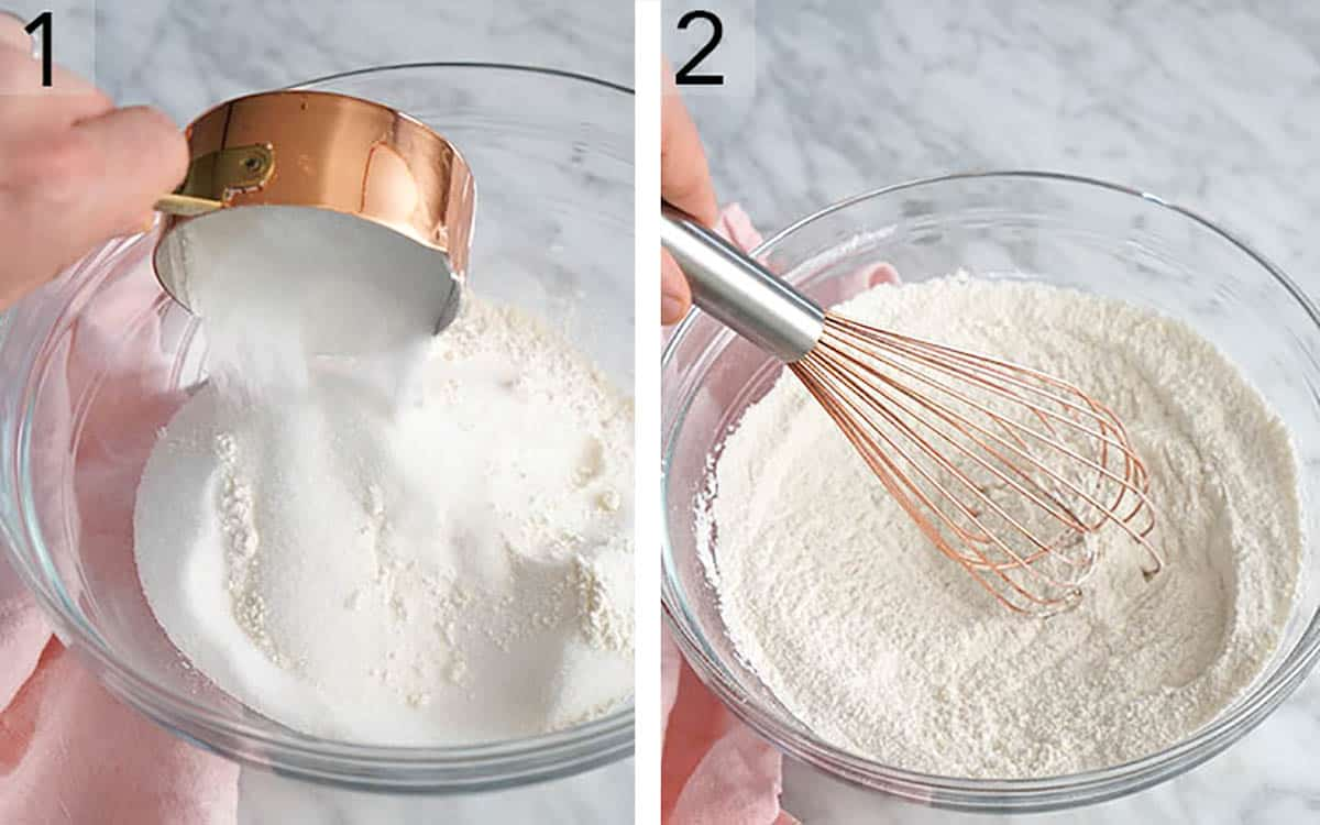 Two photos showing dry ingredients being added to a bowl then whisked for vanilla cake.