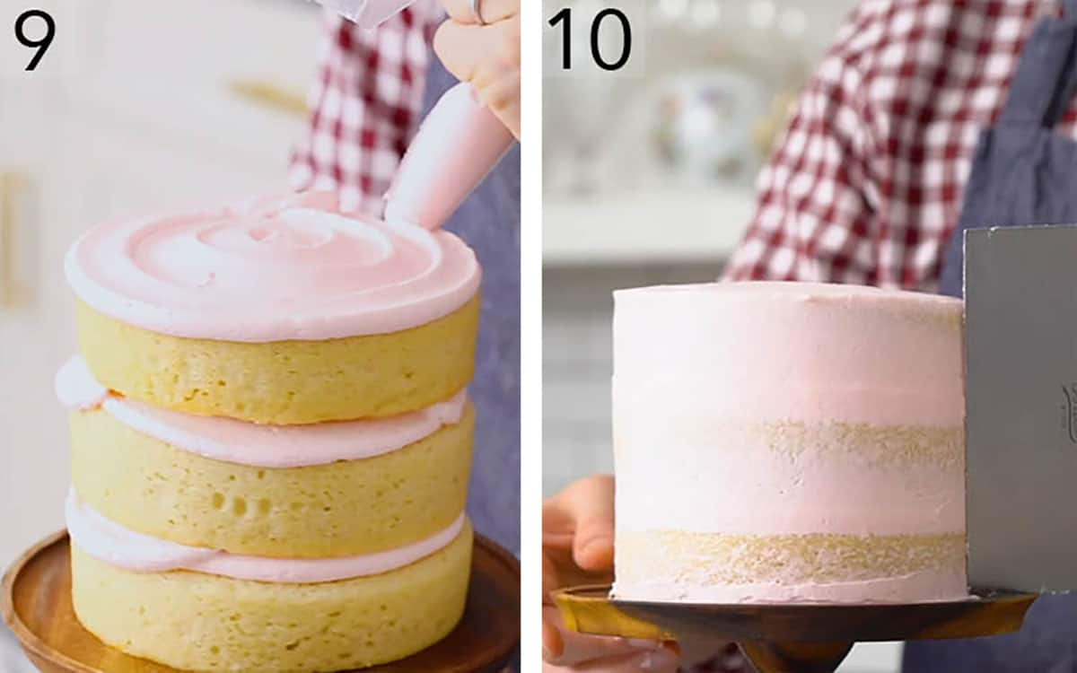A three layer vanilla cake with pink buttercream getting assembled and smoothed.