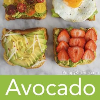 four pieces of avocado toast with various toppings on a counter