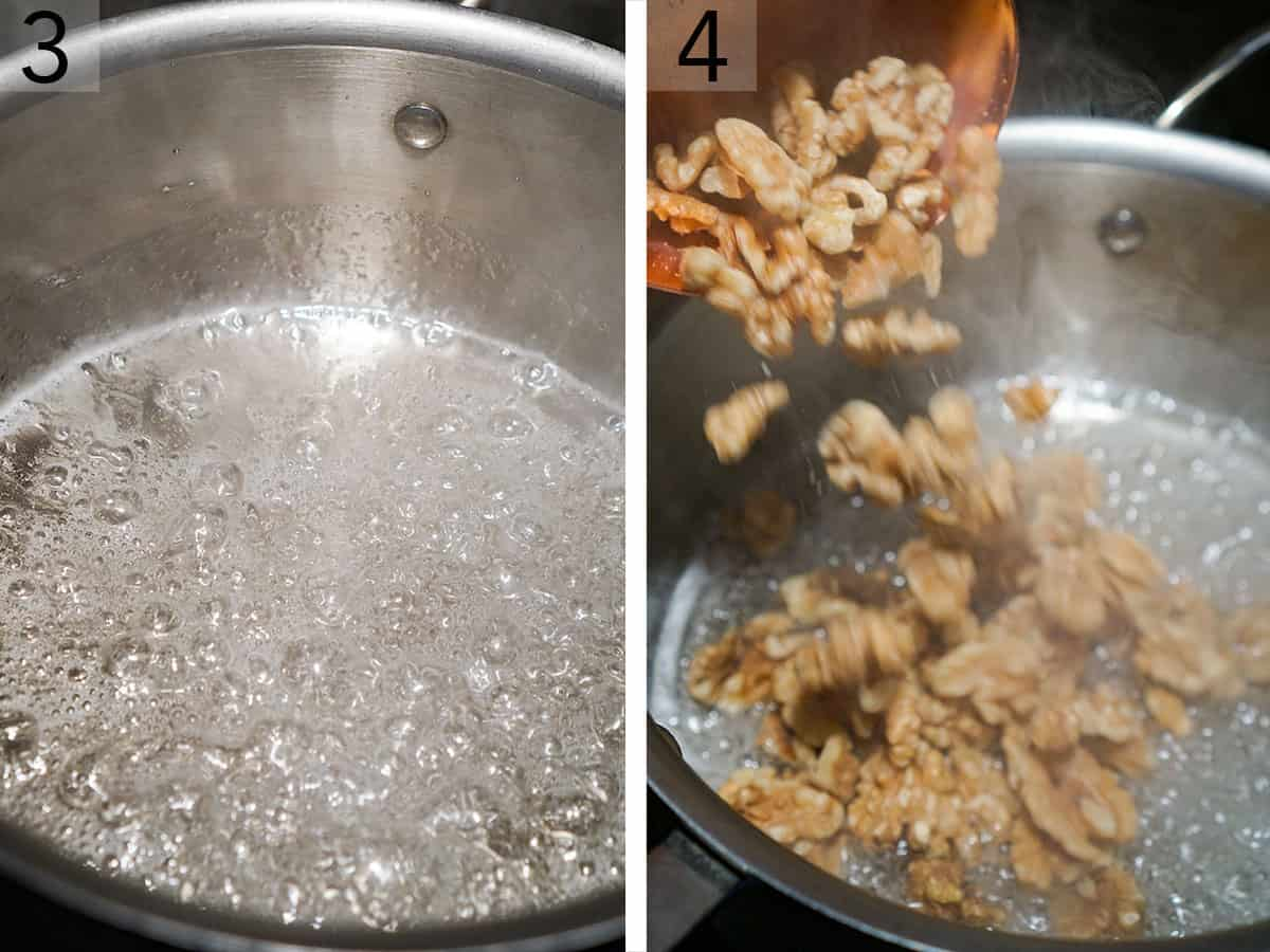 Two photos showing walnuts going into a a pot of boiling sugar.