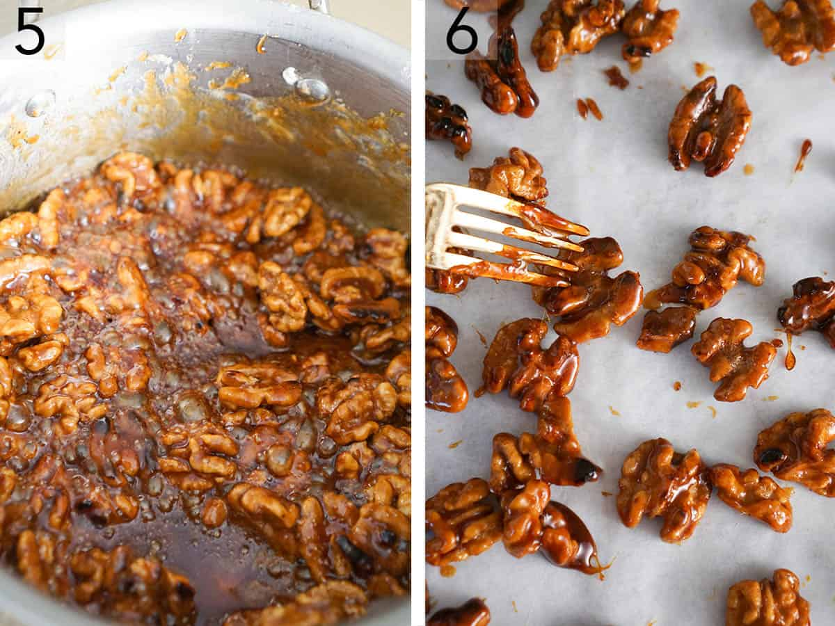 Two photos showing candied walnuts getting separated on a sheet of parchment paper.
