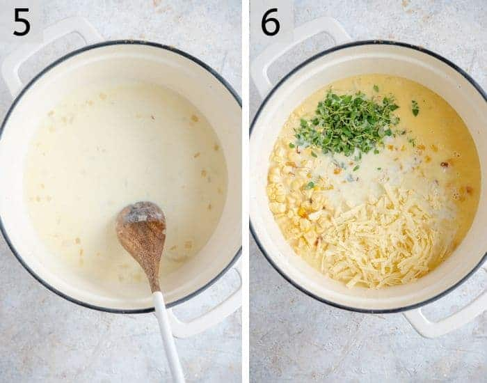 Photos showing adding corn, cheese and thyme to a corn casserole