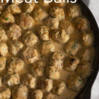 A big pan of Swedish Meatballs.