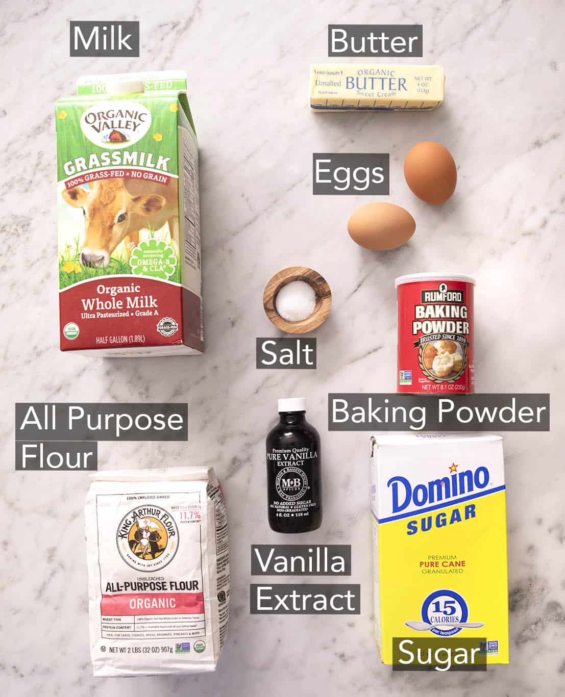 An overhead shot of all the ingredients you need to make waffles.