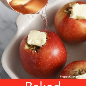 Water pouring in a baking dish with apples.