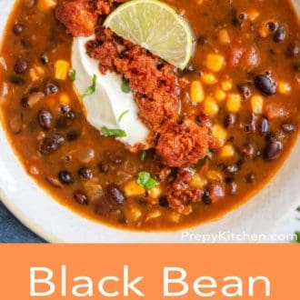 black bean soup in a white bowl