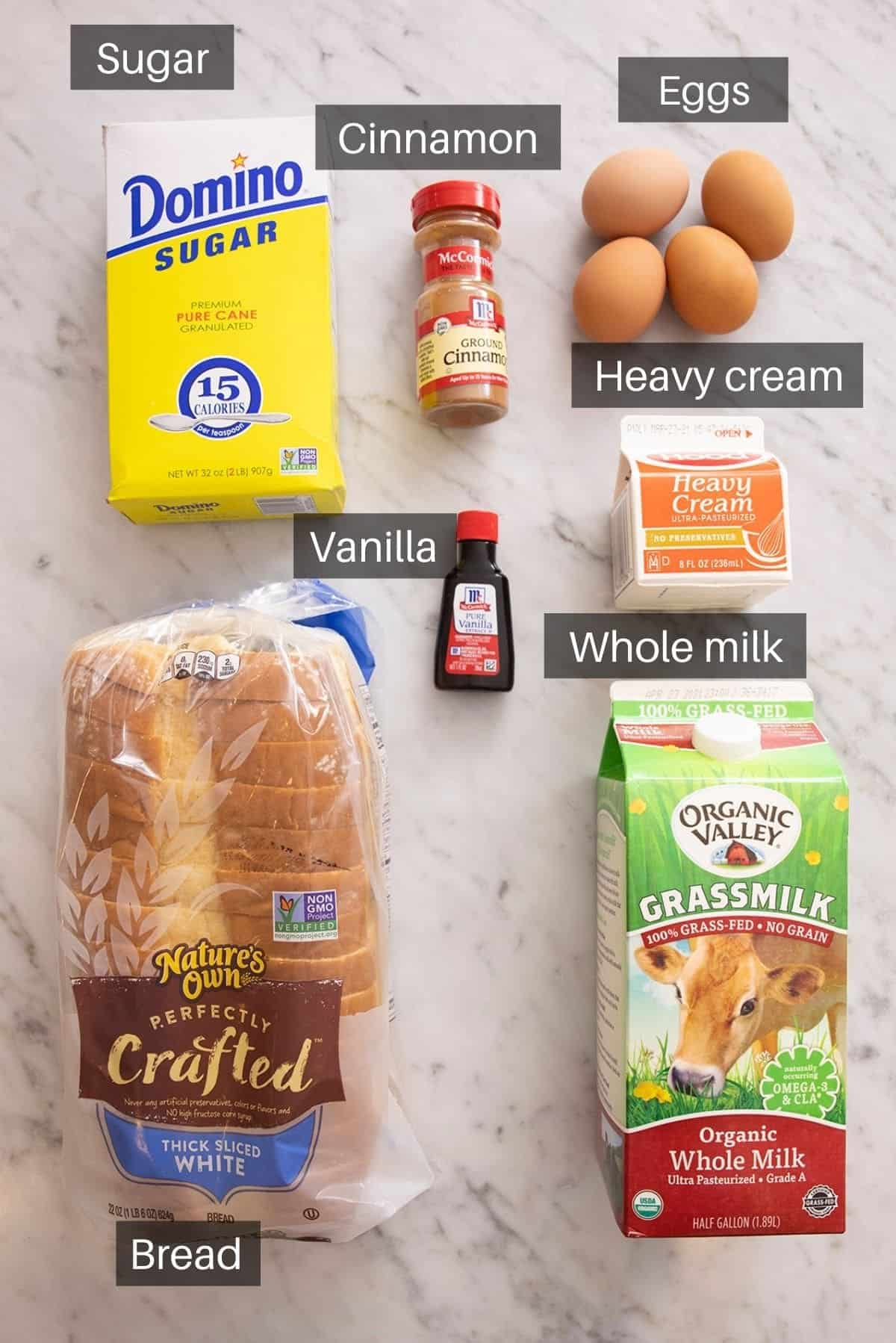 An overhead shot of all the ingredients you need to make French toast