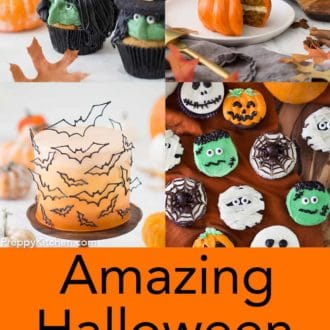 grid of four images with various halloween cakes and cupcakes