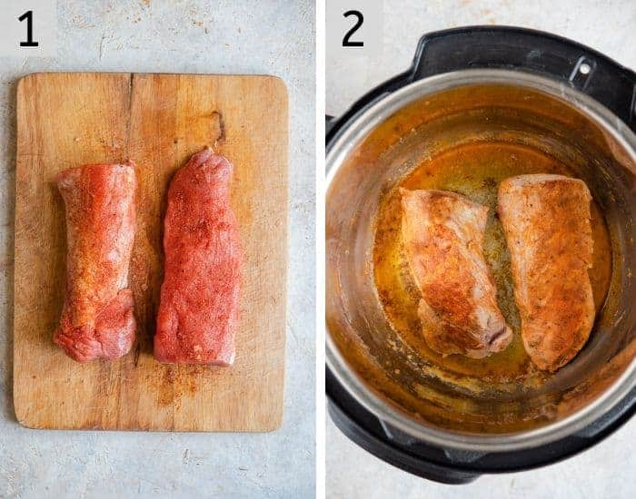 Step by step photos for how to make instant pot pork tenderloin