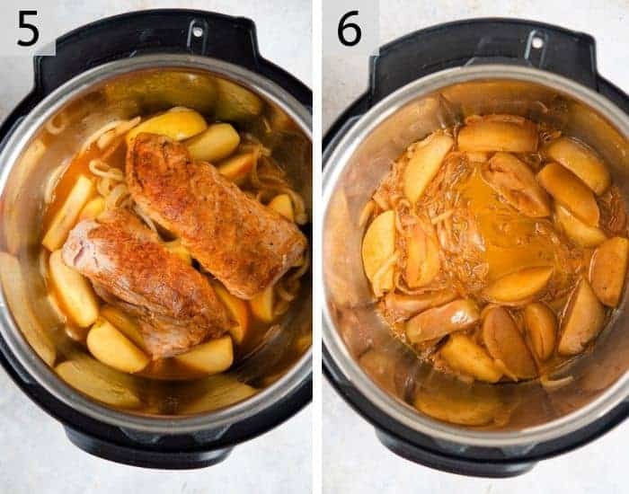 Pork tenderloin in an instant pot with apples