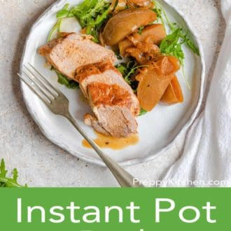 instant pot pork tenderloin on a white plate with a fork
